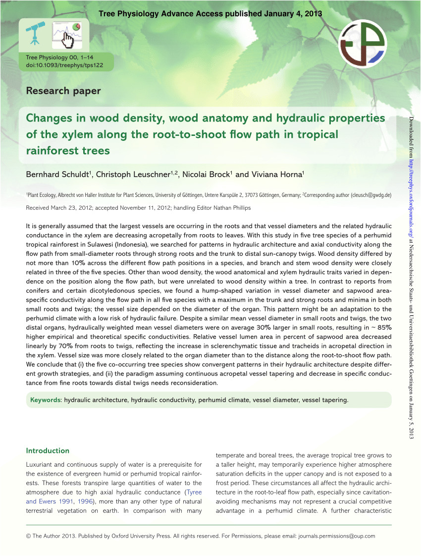 pdf changes in wood density wood anatomy and hydraulic properties of the xylem along the root to shoot flow path in tropical rainforest trees