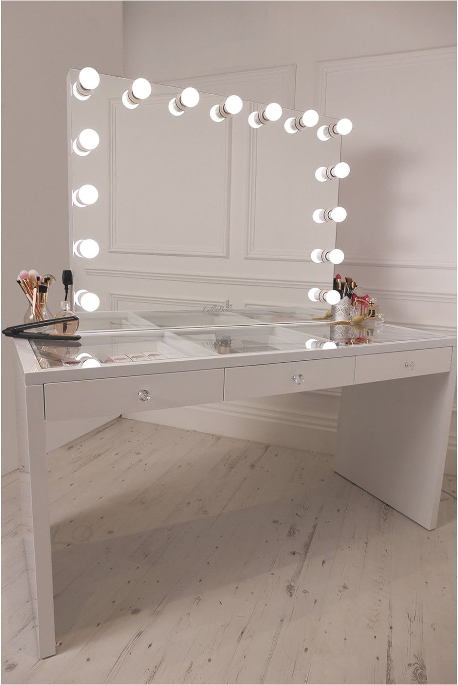 crisp white finish slaystation make up vanity with premium storage three spacious drawers encrusted with