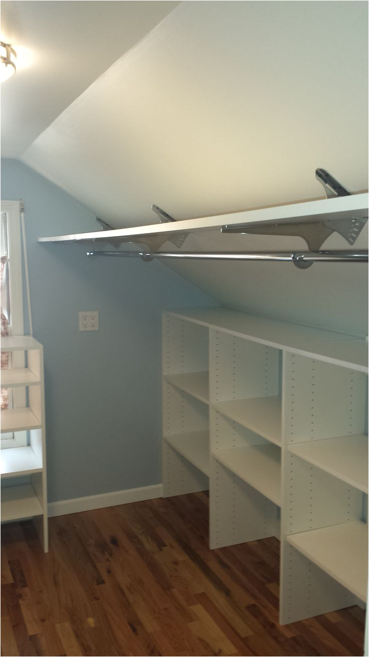 angled brackets used to maximize space in attic closet closet redo in 2019 attic attic closet attic bedrooms
