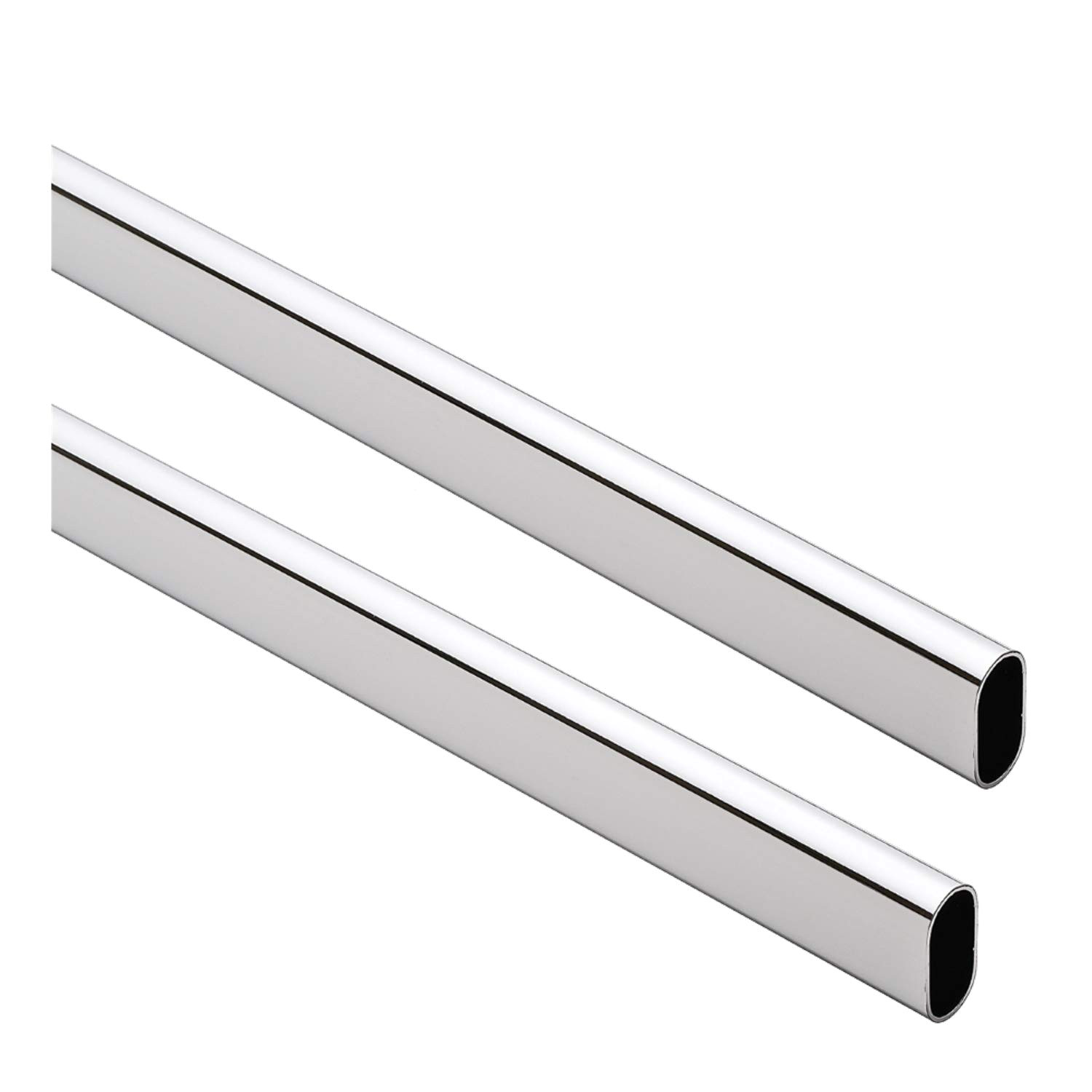 oval closet rod heavy duty 15mm x 30mm polished chrome 96
