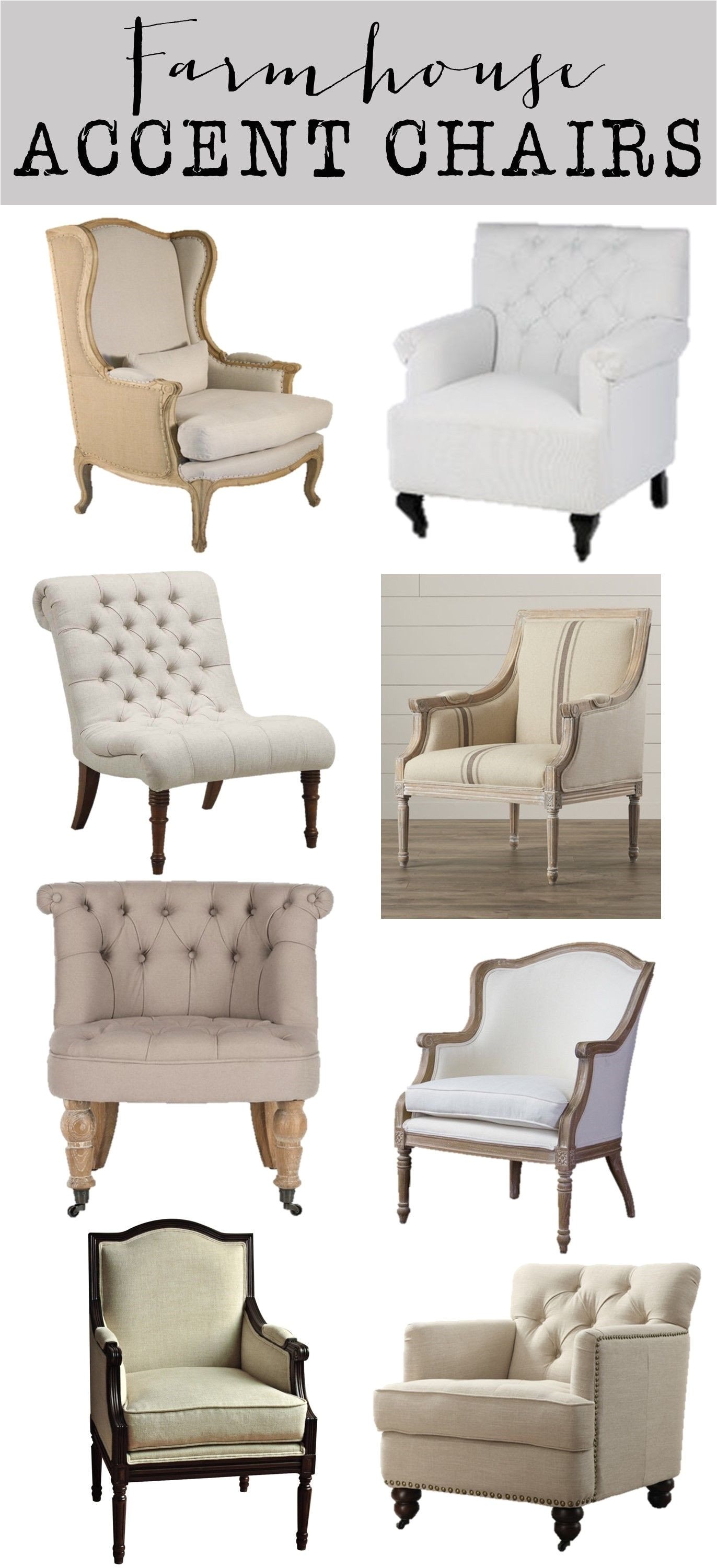 friday favorites farmhouse accent chairs house of hargrove neutral linen tufted beautiful accent chairs