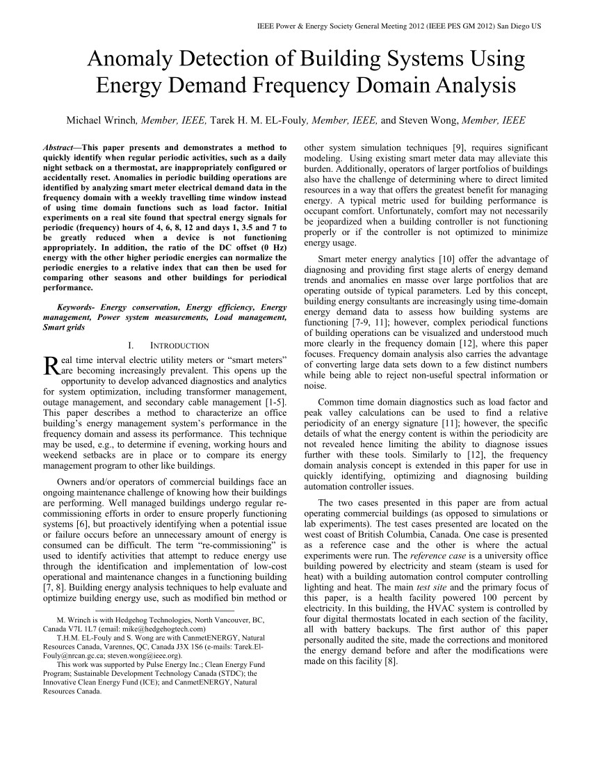 pdf anomaly detection of building systems using energy demand frequency domain analysis