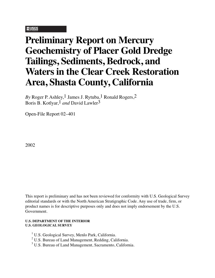 pdf mercury contamination from historical gold mining in california