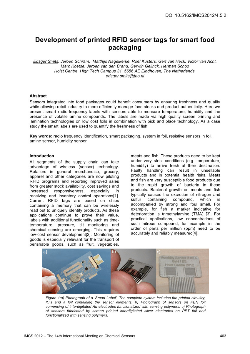pdf development of printed rfid sensor tags for smart food packaging