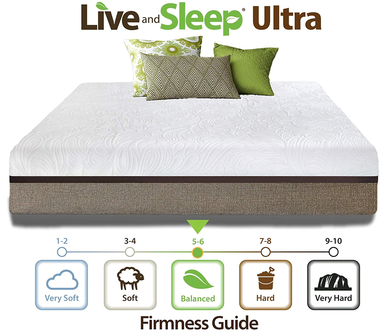 amazon com live sleep ultra king mattress gel memory foam mattress 12 inch king size medium firm bed in a box bonus luxury form pillow certipur