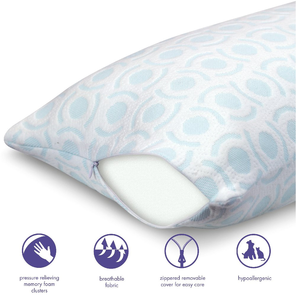 amazon com loftworks mfp d004 big and soft extra long memory foam body maternity pregnancy pillow made in usa 18 w x 60 l light blue home kitchen