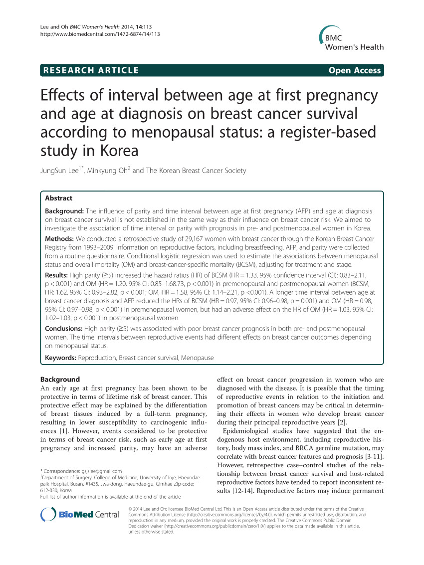 interval between age at first pregnancy and age at diagnosis on breast cancer survival according to menopausal status a register based study in korea