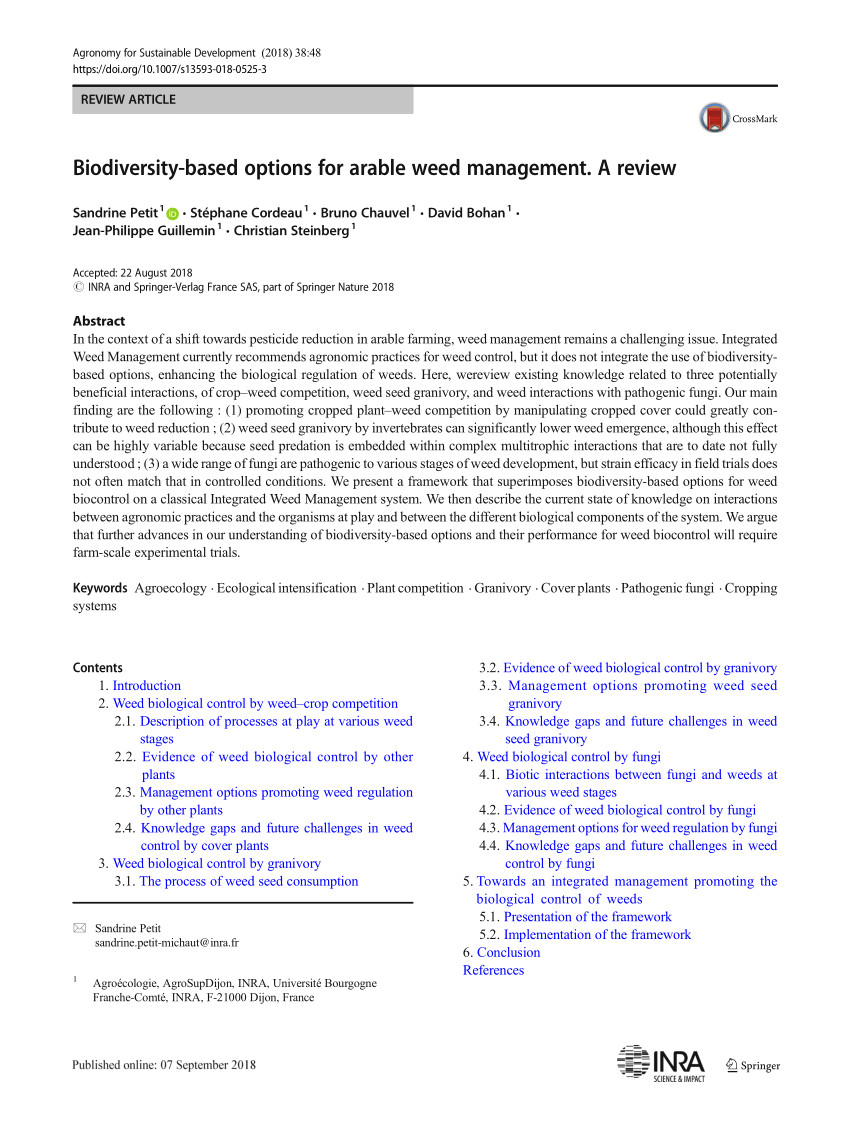 pdf biodiversity based options for arable weed management a review