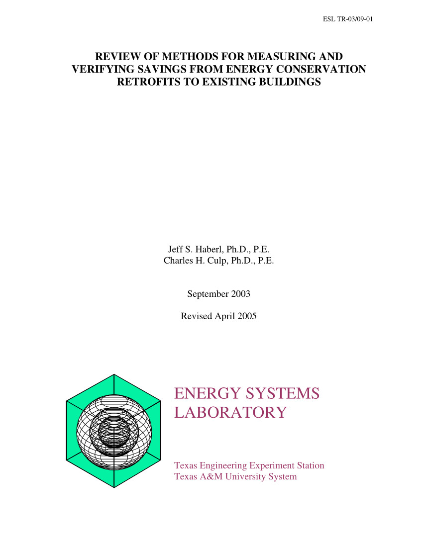 pdf review of methods for measuring and verifying savings from energy conservation retrofits to existing buildings