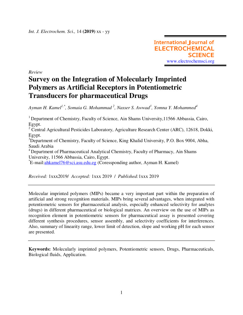 pdf survey on the integration of molecularly imprinted polymers as artificial receptors in potentiometric transducers for pharmaceutical drugs