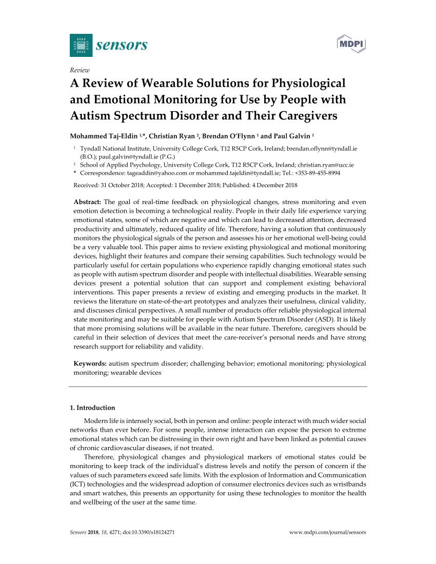 pdf a review of wearable solutions for physiological and emotional monitoring for use by people with autism spectrum disorder and their caregivers