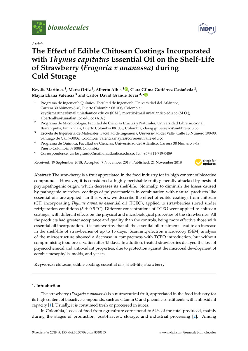 effect of chitosan lemon essential oil coatings on storage keeping quality of strawberry request pdf