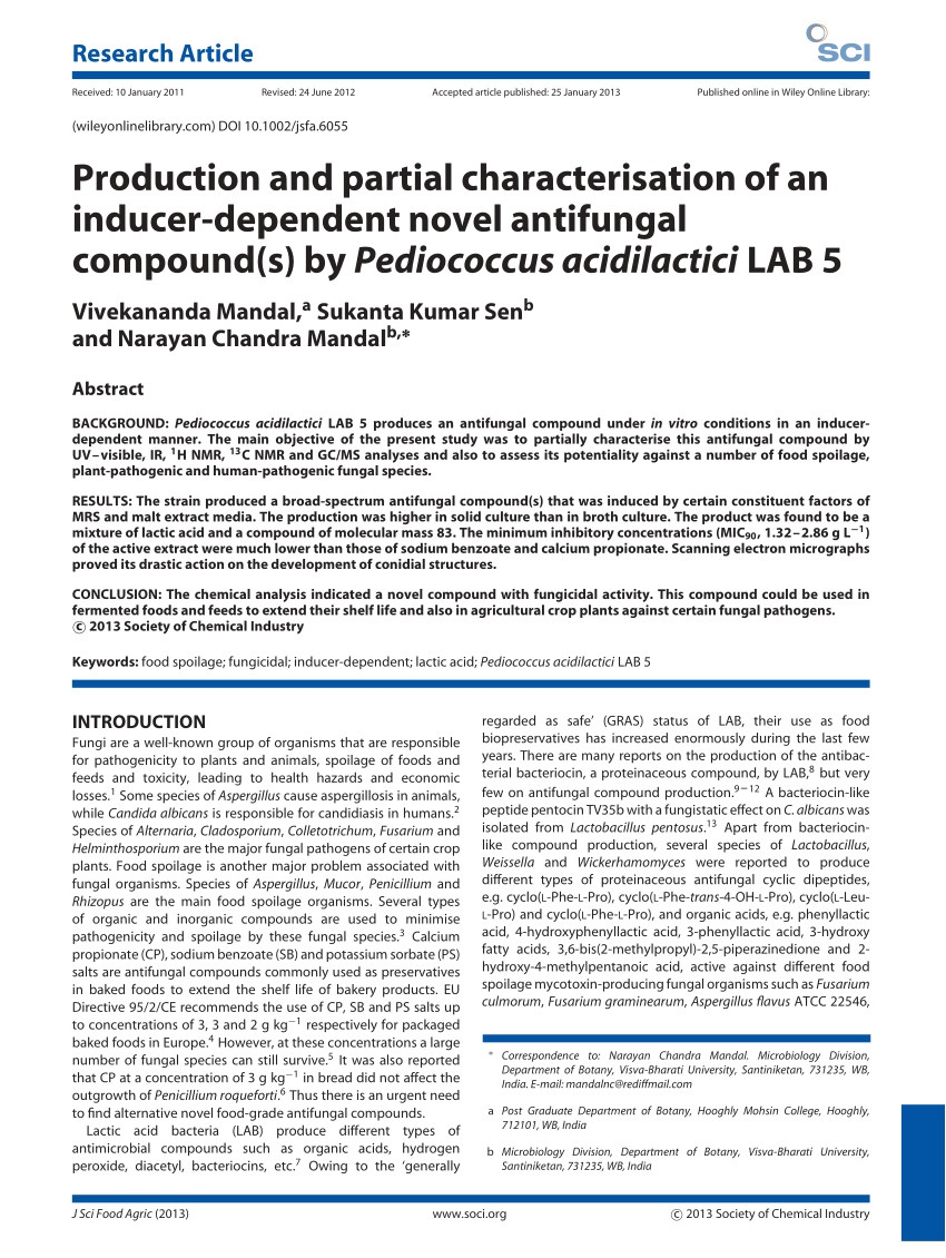 pdf production and partial characterisation of an inducer dependent novel antifungal compound s by pediococcus acidilactici lab 5
