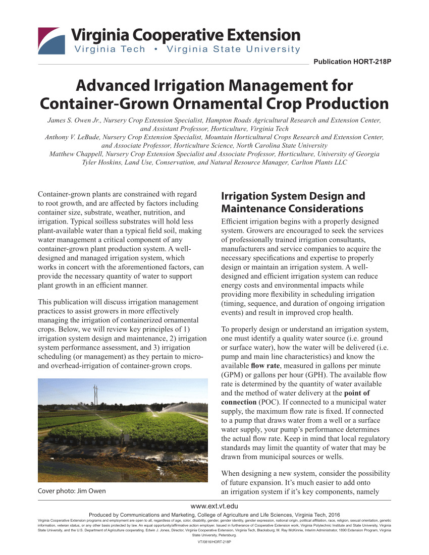 pdf advanced irrigation management for container grown ornamental crop production