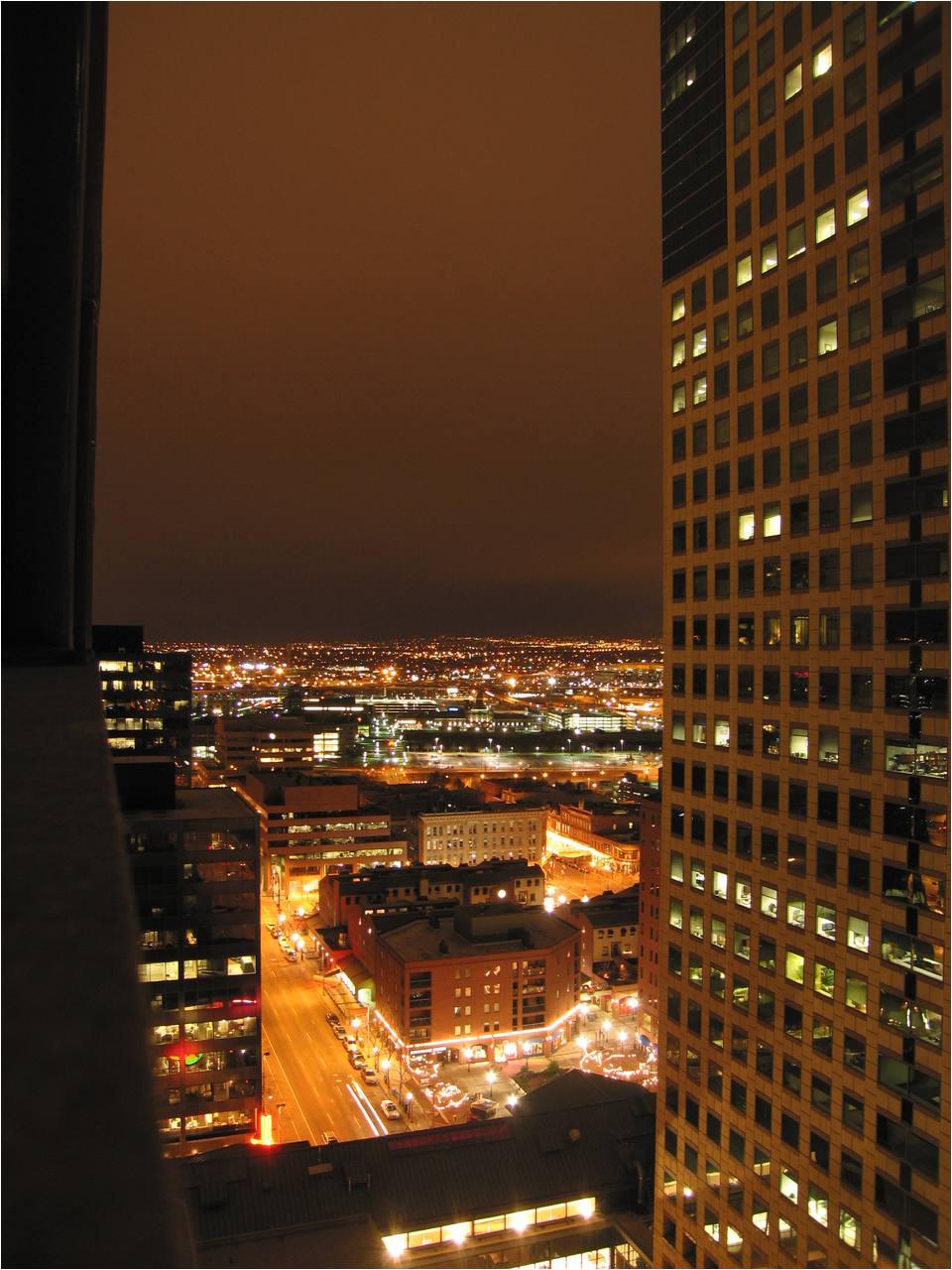 denver night skyline viewed from upper floor of westin tabor center