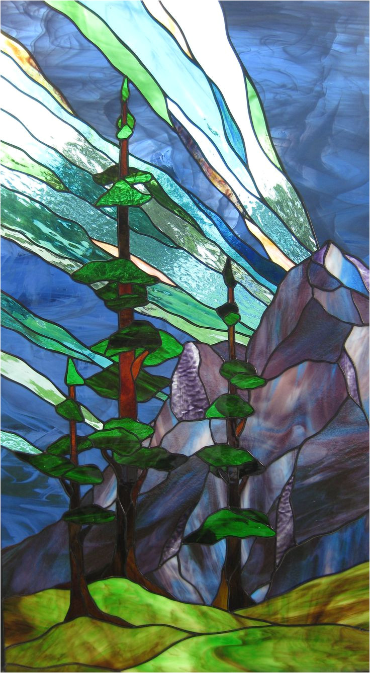 this beautiful northern lights window was crafted by peter galway at breslau art glass