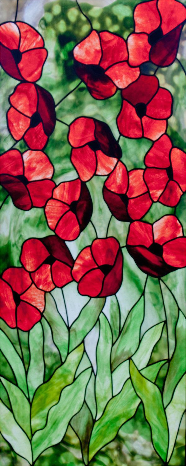 poppies stained glass pattern a c david kennedy designs by kennedystainedglass on etsy