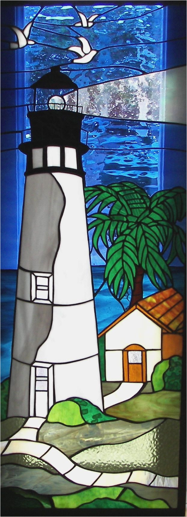 stained glass of a light house