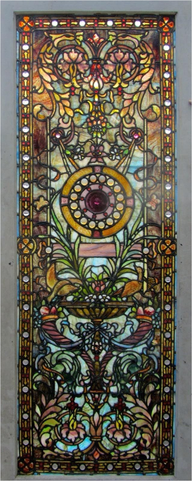 antique american stained glass door attributed to the ruby brothers studios ca 1900