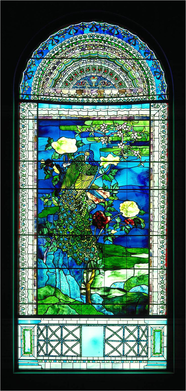 peacocks and peonies i 1882 john la farge born new york new york 1835 died providence rhode island 1910 stained glass window frame 112 x 51 x 6 in