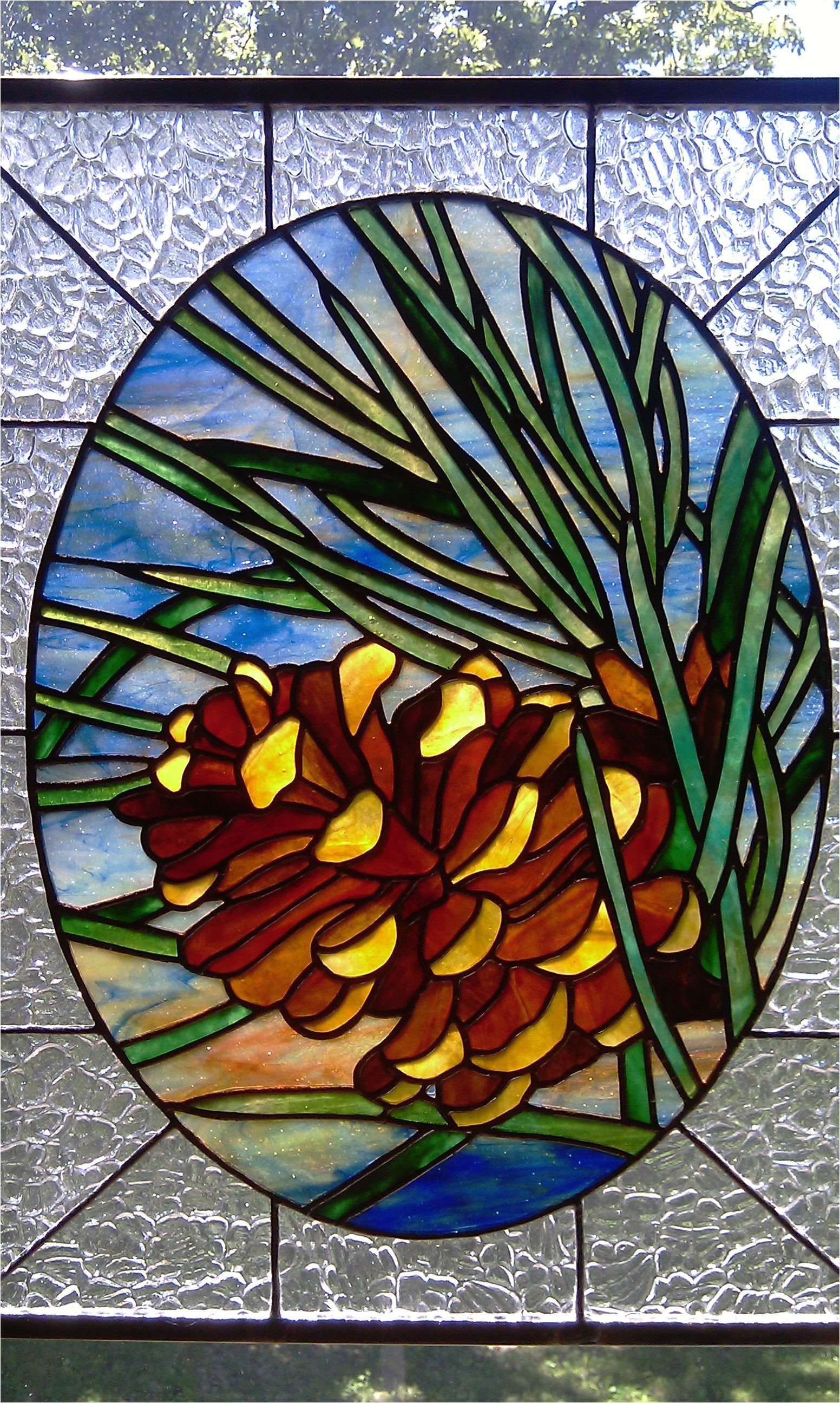pine cone stained glass pattern stained glass pine cone window from a design by chantal pare sold