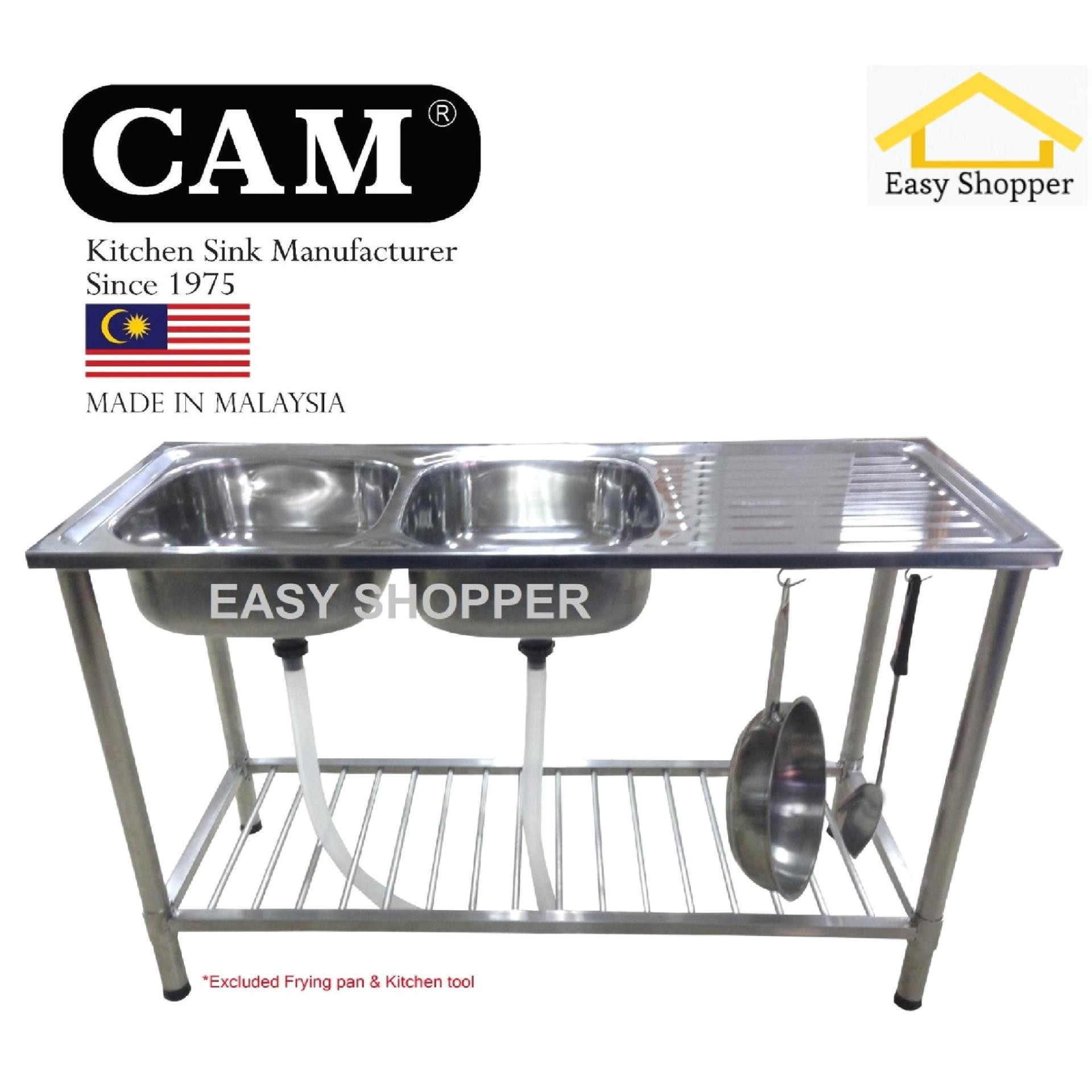 cam brand diy kitchen sink with stand double bowl single drainer
