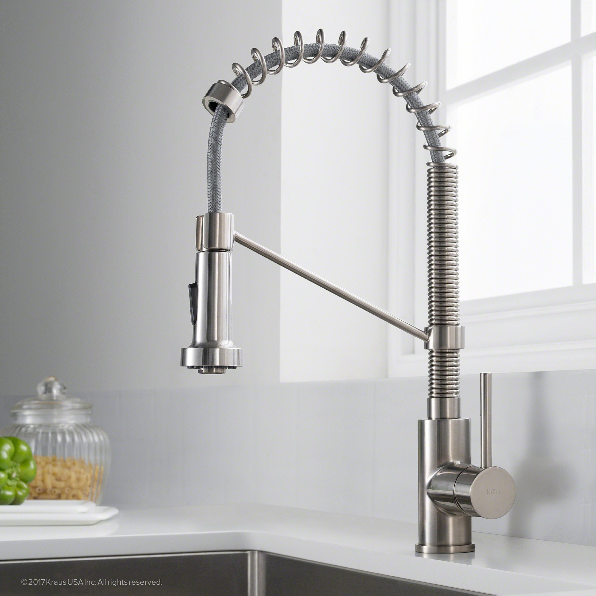 kraus kpf 1610ss bolden single handle 18 inch commercial kitchen faucet with dual function pull down spray head finish kpf 1610ss stainless steel