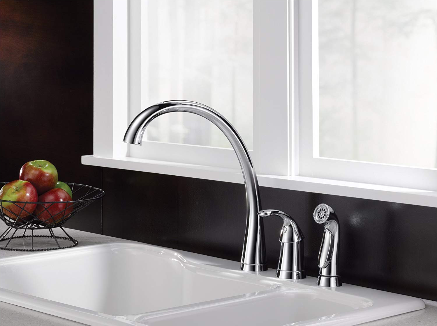 delta faucet pilar single handle kitchen sink faucet with side sprayer in matching finish chrome 4380 dst touch on kitchen sink faucets amazon com