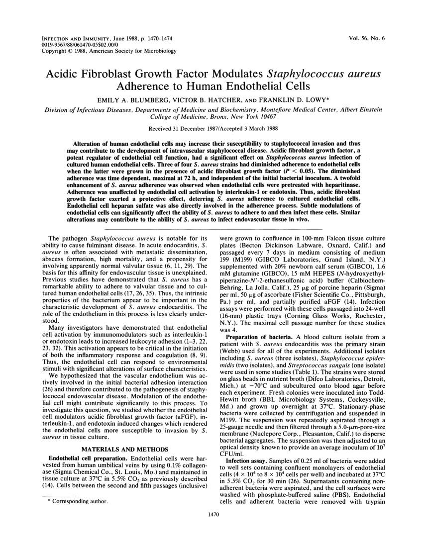 pdf acidic fibroblast growth factor modulates staphylococcus aureus adherence to human endothelial cells