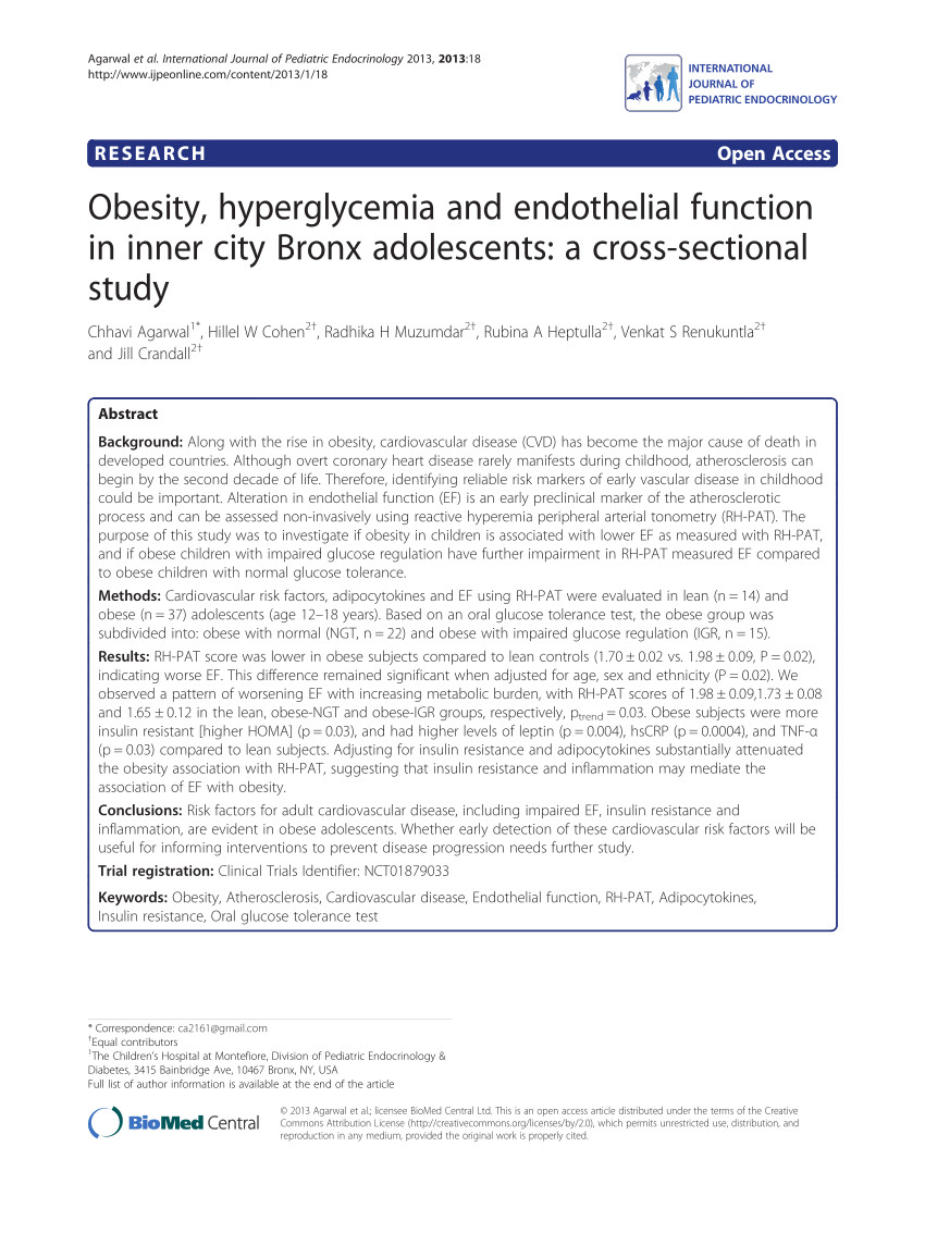 pdf obesity hyperglycemia and endothelial function in inner city bronx adolescents a cross sectional study