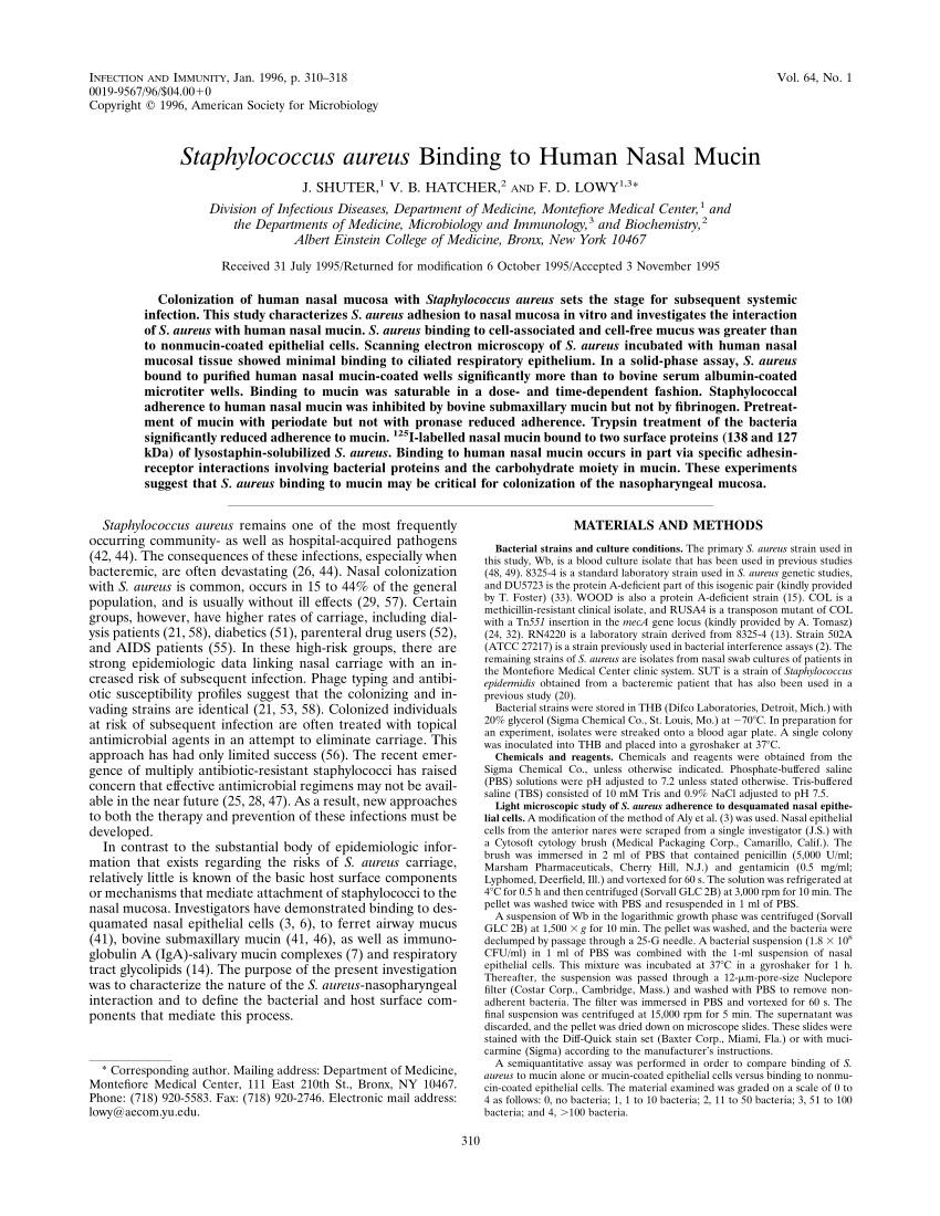 pdf staphylococcus aureus binding to human nasal mucin
