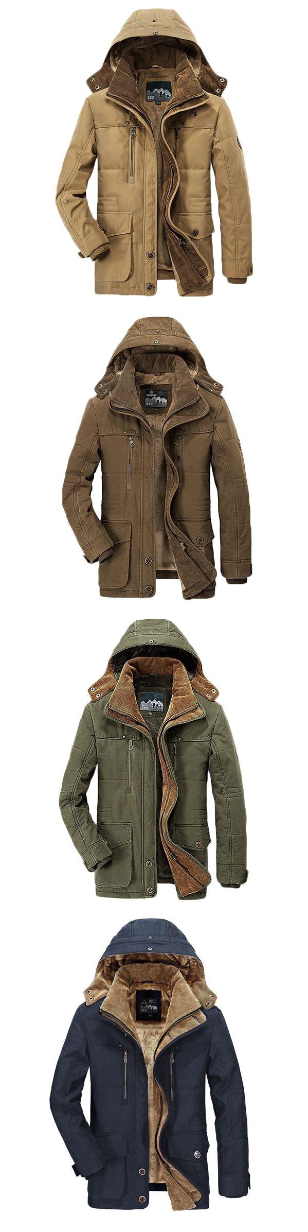 us 81 88 winter thicken warm multi pockets solid color detachable hood jacket for men