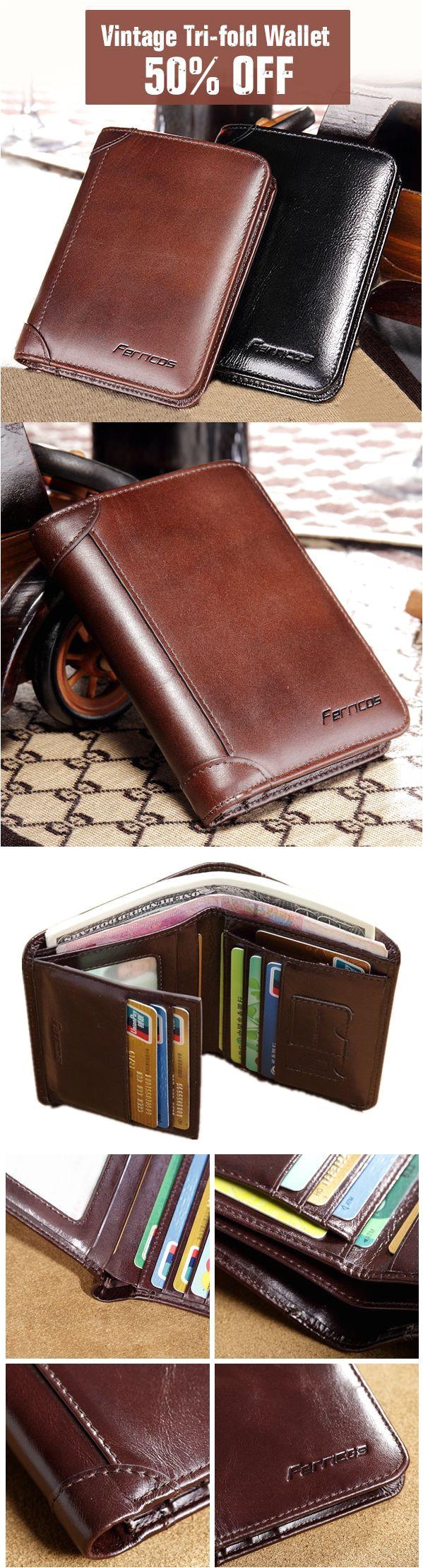 ferricos rfid antimagnetic genuine leather vintage tri fold large capacity short wallet for men