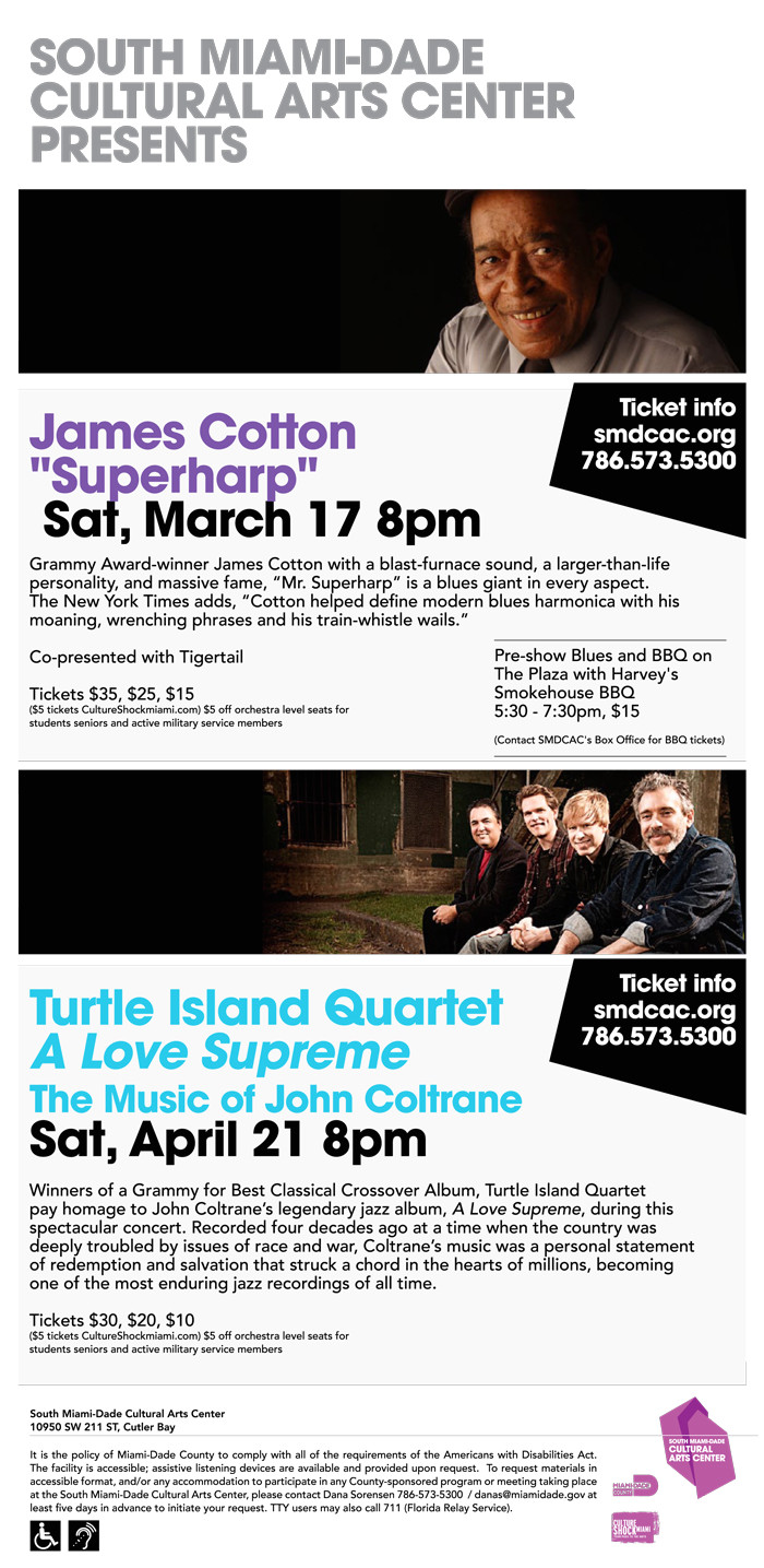 south miami dade cultural arts center presents jazz blues in march april