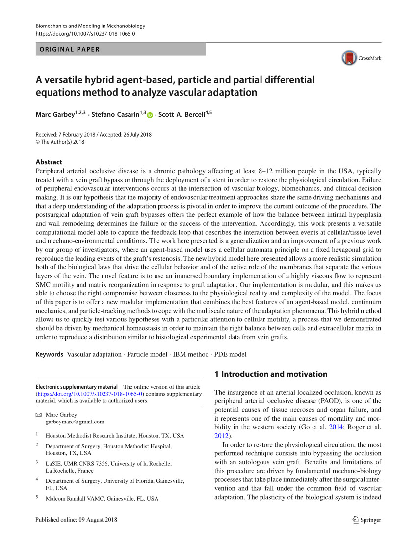 pdf a versatile hybrid agent based particle and partial differential equations method to analyze vascular adaptation