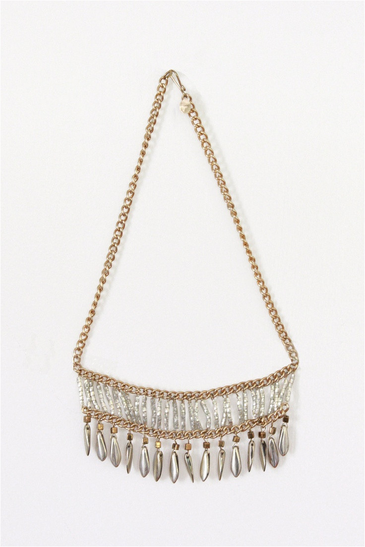 fringe beaded bib necklace
