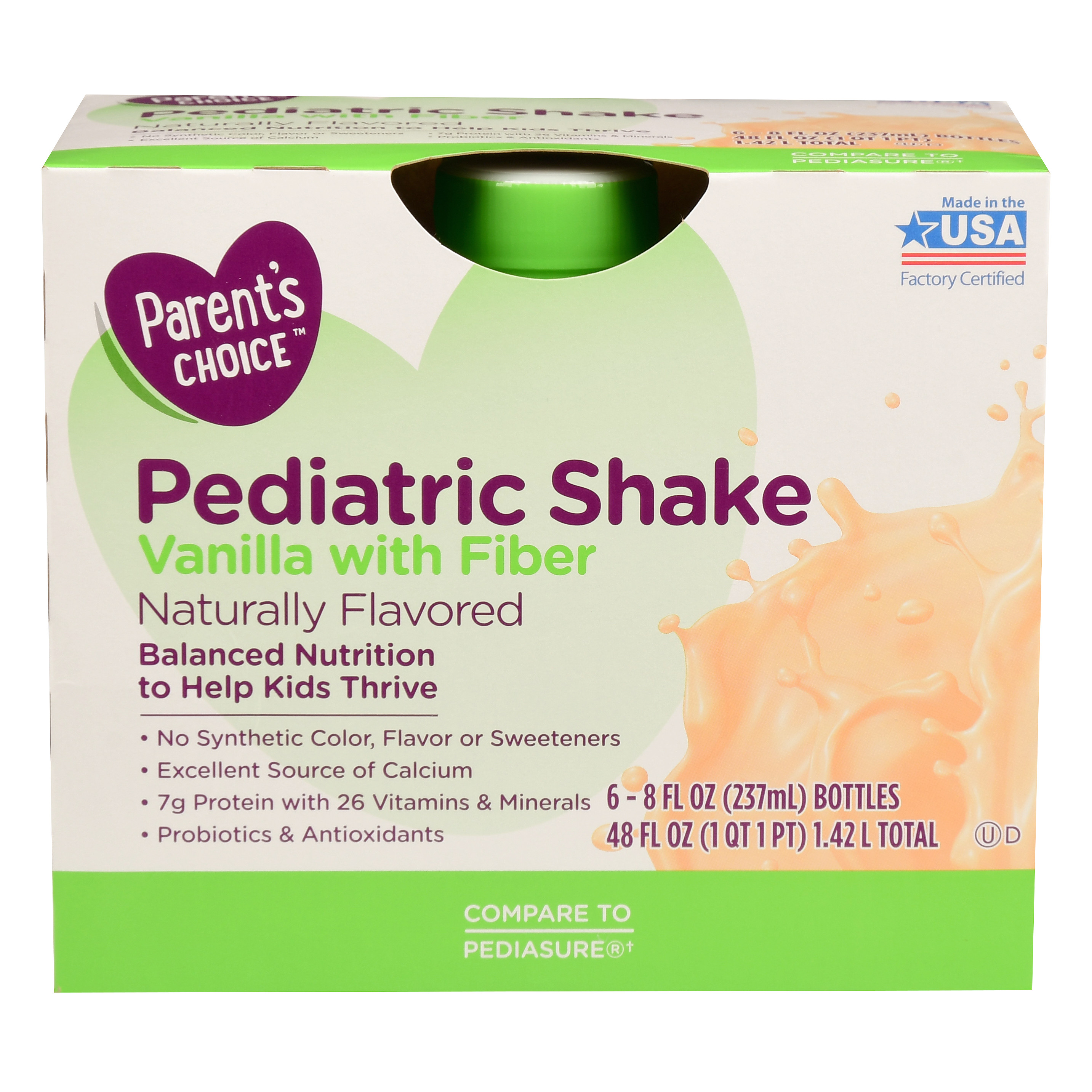 parent s choice pediatric shake with fiber vanilla 8 oz 6 count walmart com