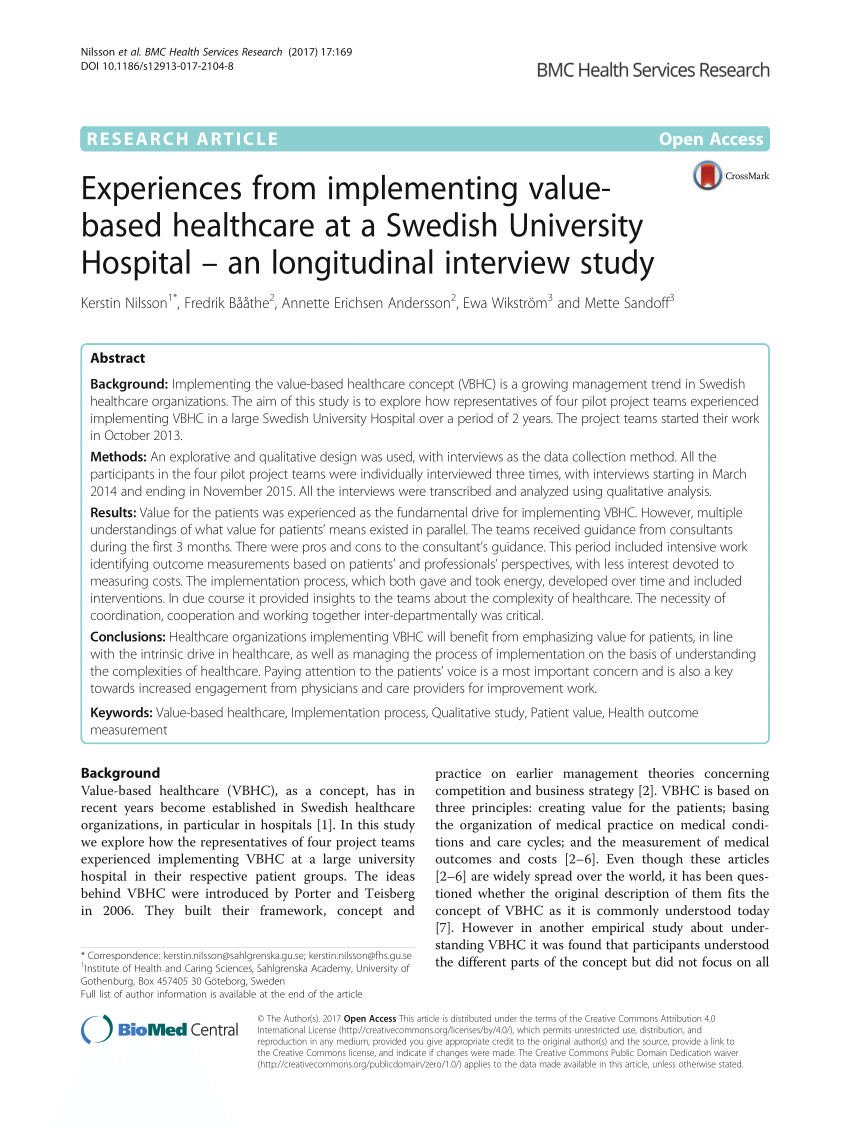 pdf experiences from implementing value based healthcare at a swedish university hospital a longitudinal interview study