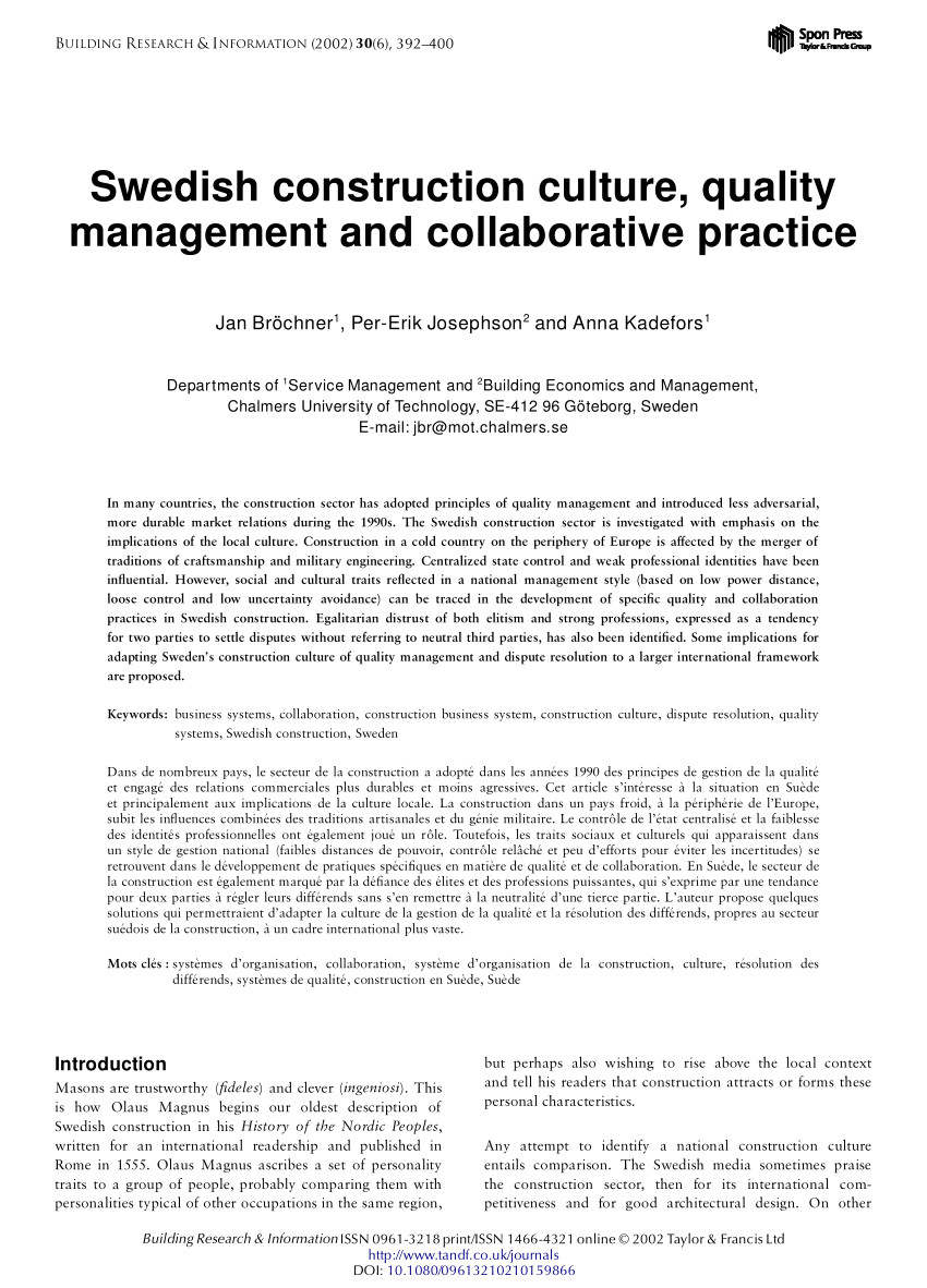 pdf swedish construction culture management and collaborative quality practice