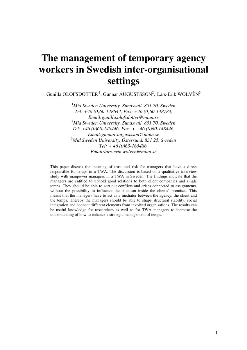 pdf the management of temporary agency workers in swedish inter organisational settings