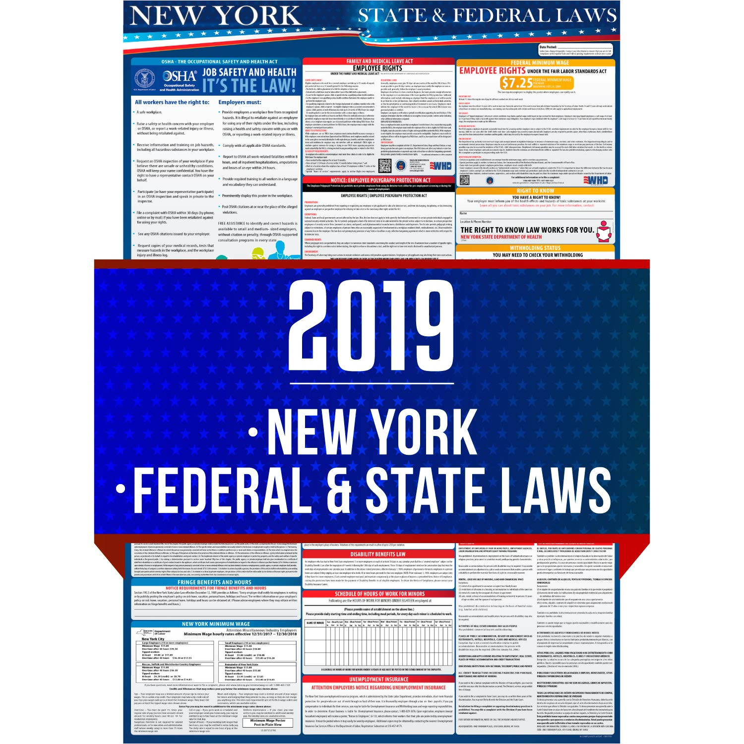 amazon com 2019 new york state and federal labor laws poster osha workplace compliant 24 x 36 all in one required posting uv coated office