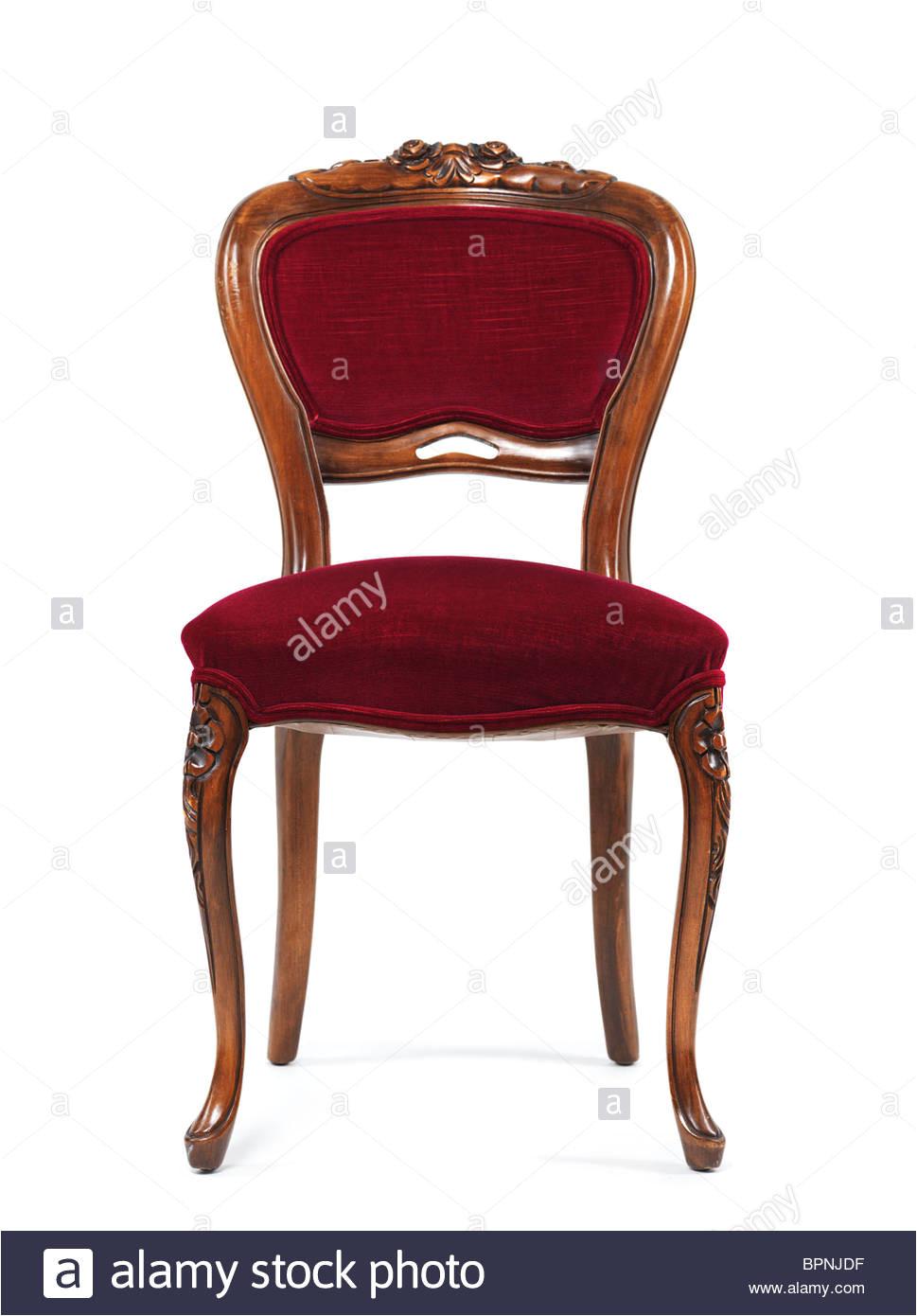 silla de madera antigua con tapicera a roja aislado sobre fondo blanco imagen de stock