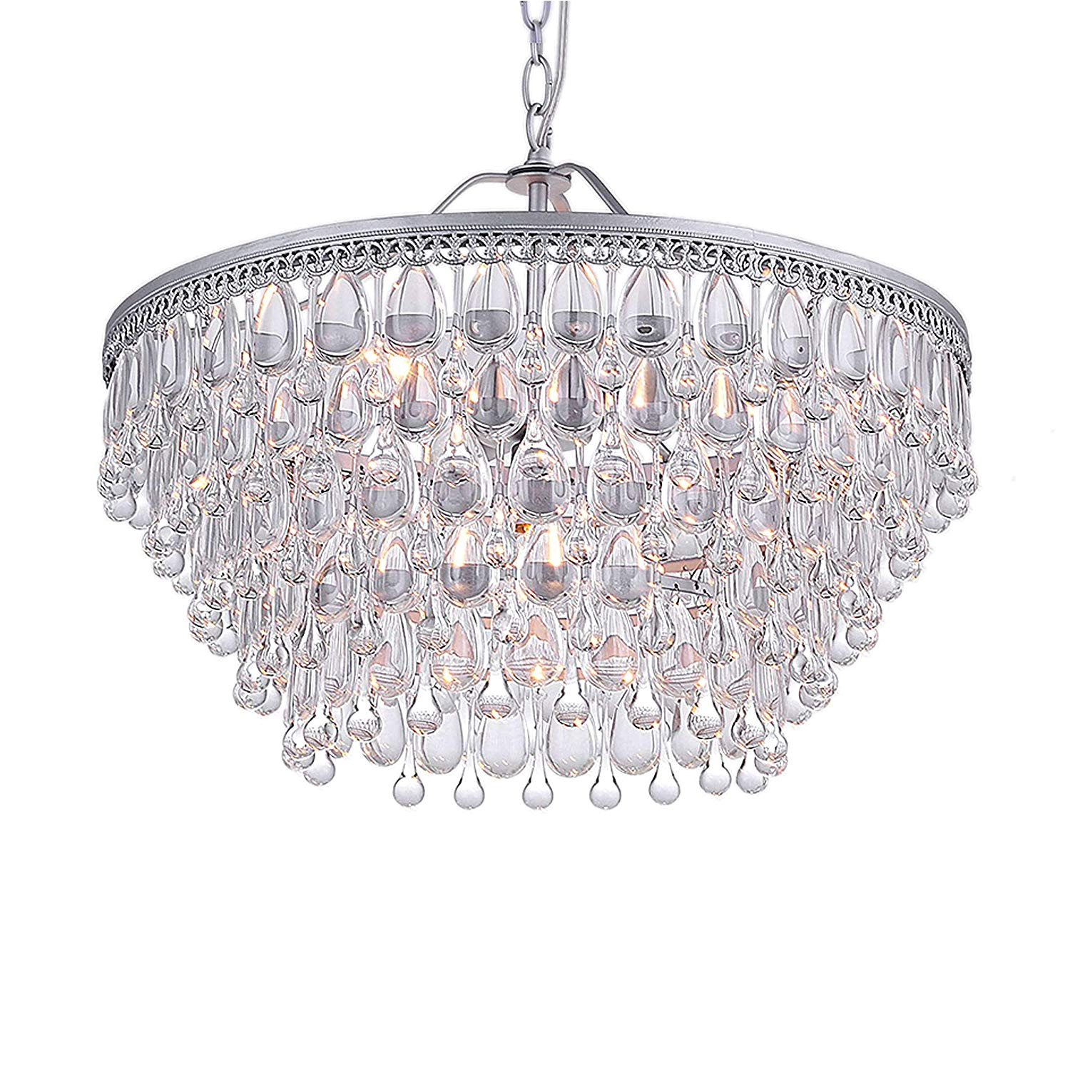 amazon com jojospring wesley crystal 6 light chandelier with clear teardrop beads home kitchen