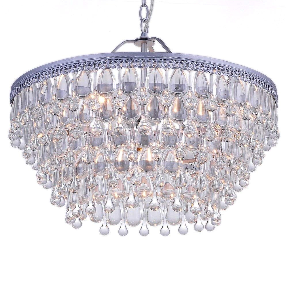 amazon com wesley crystal 6 light chandelier with clear teardrop beads home kitchen