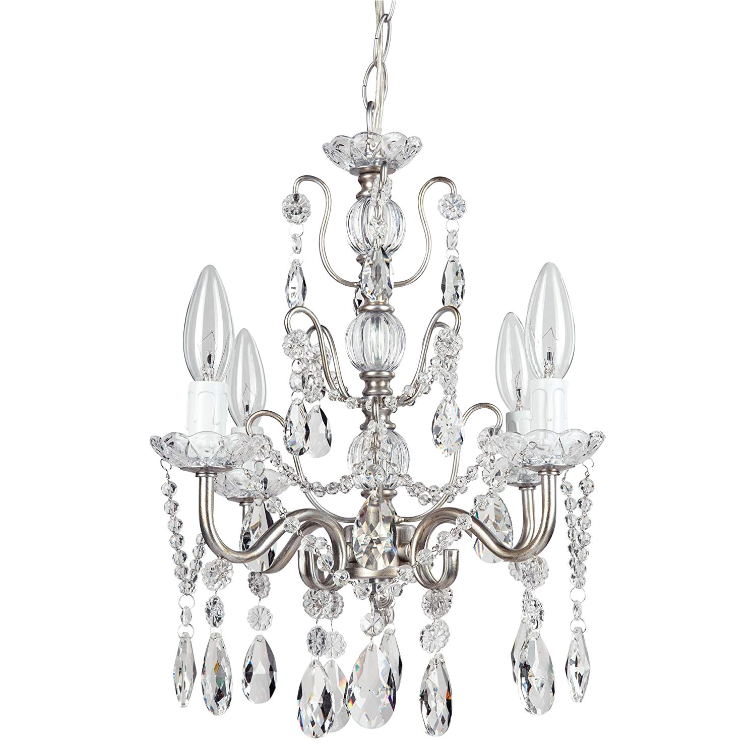 madeleine vintage silver crystal chandelier mini swag plug in glass pendant 4 light wrought iron ceiling lighting fixture lamp amazon com