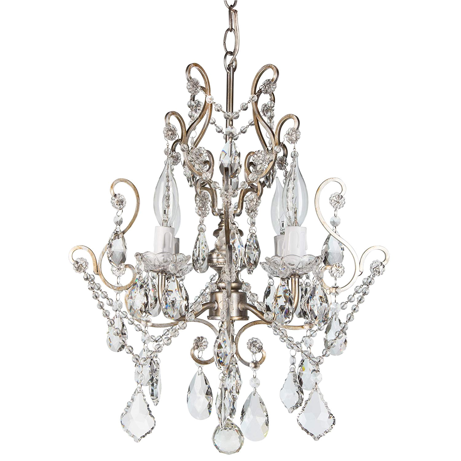 theresa vintage silver crystal chandelier mini plug in swag glass pendant 4 light wrought iron ceiling lighting fixture lamp amazon com