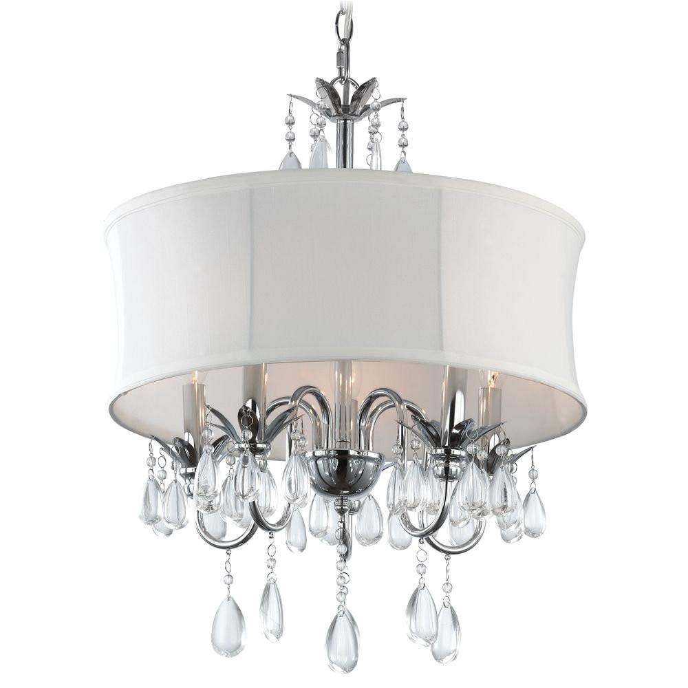 white drum shade crystal chandelier pendant light ceiling pendant fixtures amazon com
