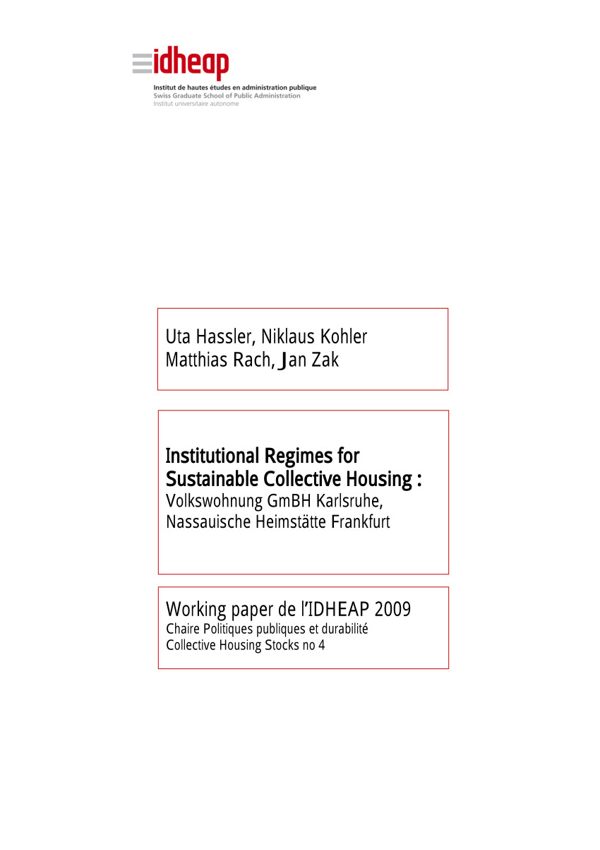 pdf institutional regimes for sustainable collective housing