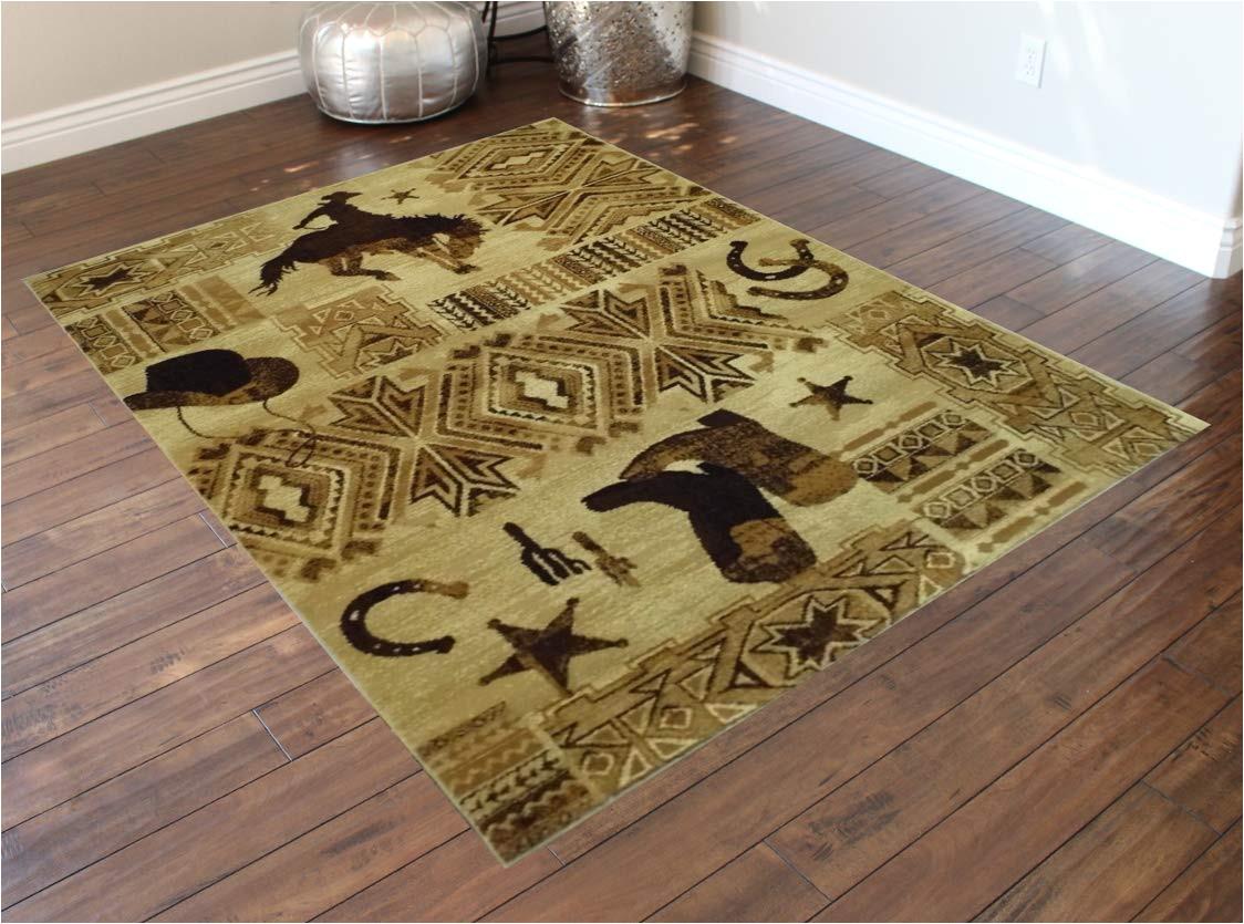 amazon com western area rug design 385 lodge 7 feet 7 inch x 10 feet 6 inch kitchen dining