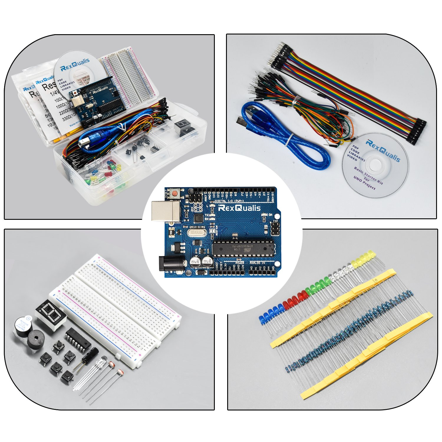 amazon com rexqualis arduino uno project basic starter kit for arduino w uno r3 development board detailed tutorial breadboard buttons jumper wires
